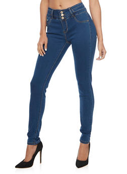 High Waisted Push Up Skinny Jeans with Stretch - 1074067542004