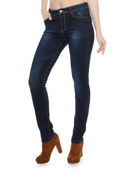 Dark Wash Skinny Jeans with Five Pockets - 1074067542006