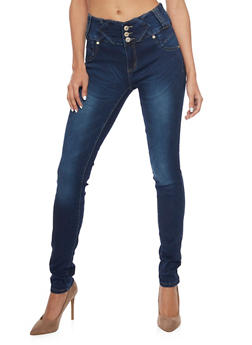Three Button Skinny Jeans with Accent Paneling and Darting - 1074067545001