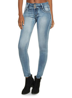 Faded Skinny Jeans with Two Buttons - 1074067547010