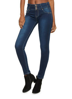 Soft Skinny Jeans with Three Button Front - 1074067547012