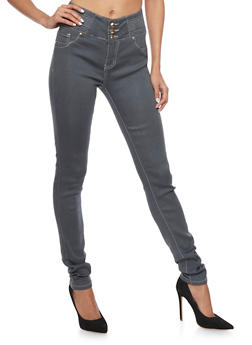 Grey High Waisted Skinny Jeans with Decorative Stitching - 1074067547017