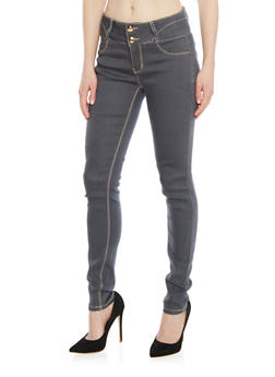Two Button Denim Skinny Jeans with Contrast Stitching - 1074067547018