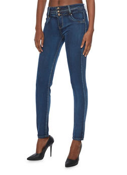 Push Up Skinny Jeans with 3 Button High Waist - 1074067547033