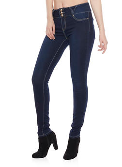 Three Button Jeggings with Contrast Stitching - 1074067547045
