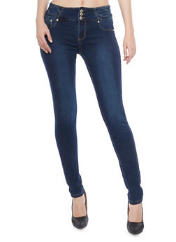 Push Up Skinny Jeans with High Waist and Embellishment - 1074067549111