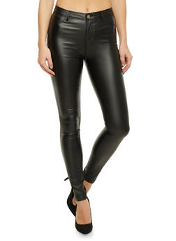 Faux Leather Skinny Pants with Back Pockets - 1074068191425