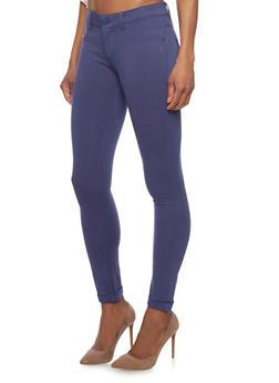 Solid Faux Front Pocket Ponte Knit Pants - 1074068191608