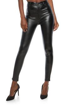 High Waisted Coated Skinny Pants - 1074068192037