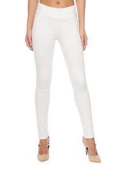Leggings with Faux Slit Back Pockets - WHITE - 1074068192042