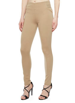 Leggings with Faux Slit Back Pockets - 1074068192042