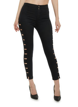 Shinestar Cropped Skinny Jeans with Cutout Sides - 1074068193000