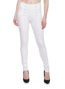 Eight Button Pleated Sailor Pants - WHITE - 1074068193011