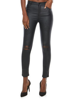 Ripped Coated Skinny Jeans - 1074068193023