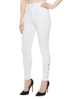 Ponte Skinny Leg Jeggings with Button Detail - WHITE - 1074068193031