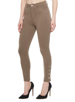 Ponte Skinny Leg Jeggings with Button Detail - TRUE OLIVE - 1074068193031