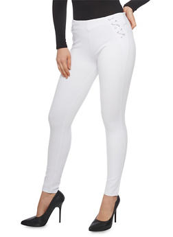 Casual Lace Up Trim Skinny Pants - WHITE - 1074068193080