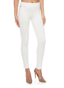 Pleated Jeggings with Zip Up Pockets - WHITE - 1074068193094