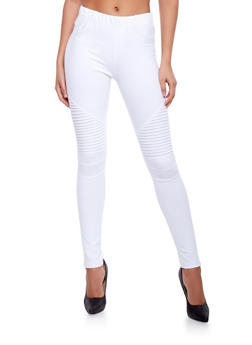 Ribbed Moto Skinny Pants - WHITE - 1074068193095