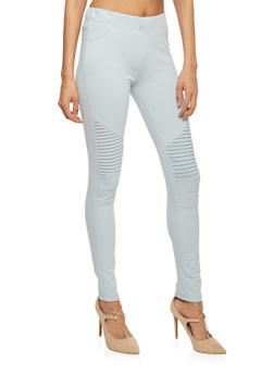 Ribbed Moto Skinny Pants - 1074068193095