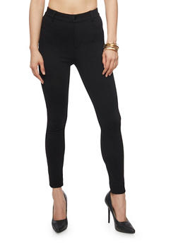Solid High Waist Jeggings - 1074068193114