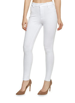 Solid High Waist Jeggings - WHITE - 1074068193114