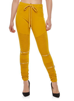 Zipper Detail Moto Jeggings - 1074068193197