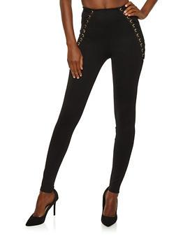 Lace Up Side Dress Pants - 1074068193324