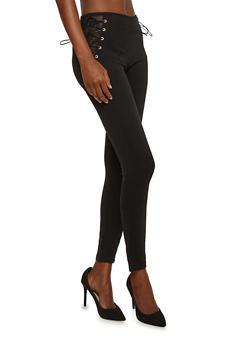 Fishnet Side Lace Up Pants - 1074068193386