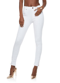 Ankle Zipper Detail Jeggings - WHITE - 1074068193712