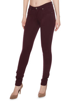 Solid Push Up Pants with Five Pockets - 1074068199322