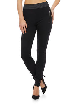 Knit Pants with Faux Zipper Pockets - 1074068199327
