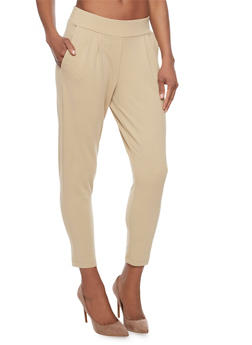 Shinestar Cropped Mid Rise Pleated Dress Pants - 1074068199799