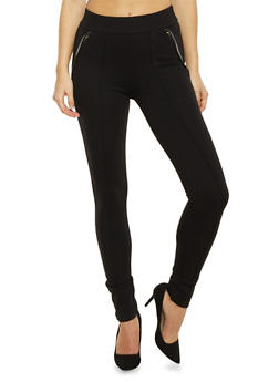 Skinny Pants with Leather Trim Pockets - 1074068199844