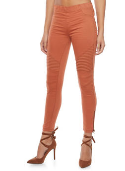 Ankle Zipper Twill Moto Pants - 1074068199855