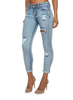 Acid Wash Destroyed Cropped Skinny Jeans - 1074069390213