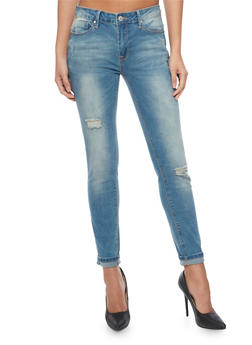 High Waist Distressed Cropped Skinny Jeans - 1074069390241