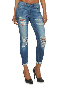 Low Rise Destroyed Cropped Skinny Jeans - 1074069390250
