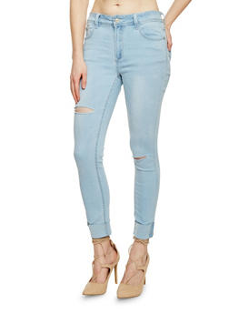 Ripped 5 Pocket Cuffed Jeans - 1074069390260