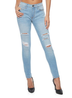 Mid Rise Ripped Skinny Jeans - 1074069390267