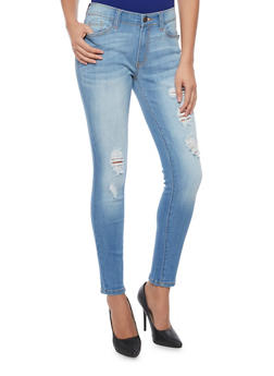 Traditional 5 Pocket Distressed Skinny Jeans - 1074069390268