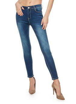 Whisker Wash Skinny Jeans - 1074069390409