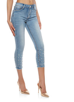 Faux Pearl and Rhinestone Studded Skinny Jeans - 1074069390430