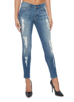 Distressed Medium Wash Cropped Skinny Jeans - 1074069391020