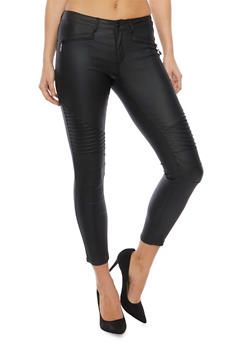 Coated Skinny Jeans with Moto Paneling - 1074069393002