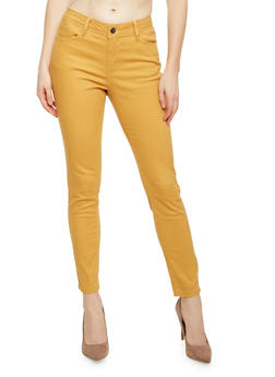 Skinny Jeans with 5 Pocket Design - MUSTARD - 1074069398576