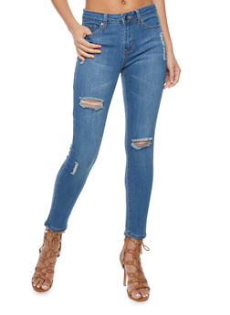 Dark Wash Distressed Cropped Skinny Jeans - 1074069398601