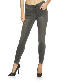 Highway 3 Button High Waisted Skinny Jeans - 1074071310915