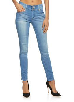 Highway 3 Button High Wasited Skinny Jeans - 1074071310918
