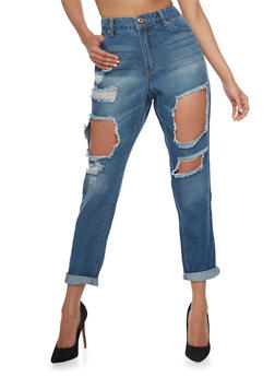 Highway Destroyed High Waisted Mom Jeans - 1074071319036